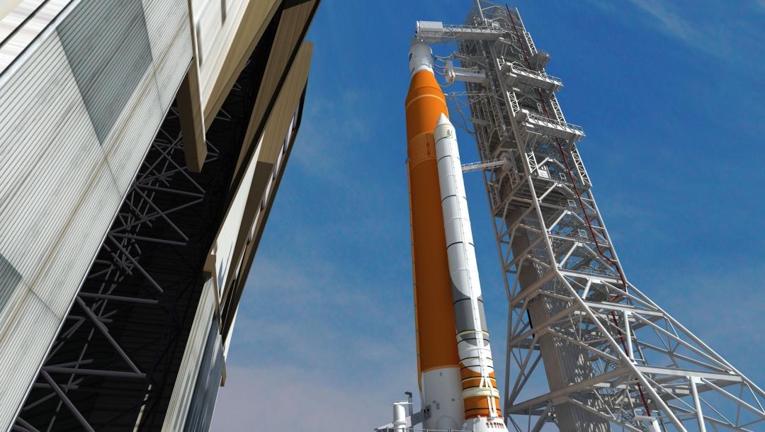 SLS із кораблем Orion на верхівці ракети.  Джерело: NASA.