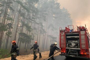 Waldbrand in Oblast Luhansk, zwei Ortschaften evakuiert