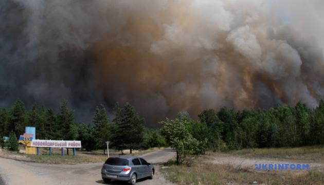 Лісова пожежа дісталася Сєвєродонецька, поліція перекриває дороги