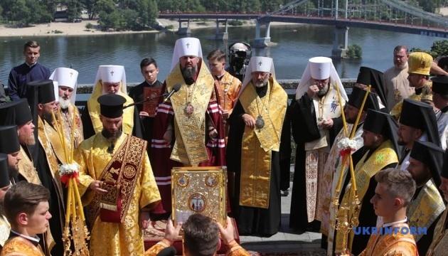 Глава ПЦУ провів молебень біля пам'ятника князю Володимиру
