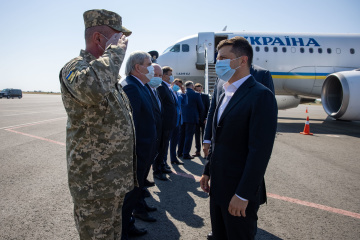 Zelensky llega en una visita de trabajo a Zaporiyia