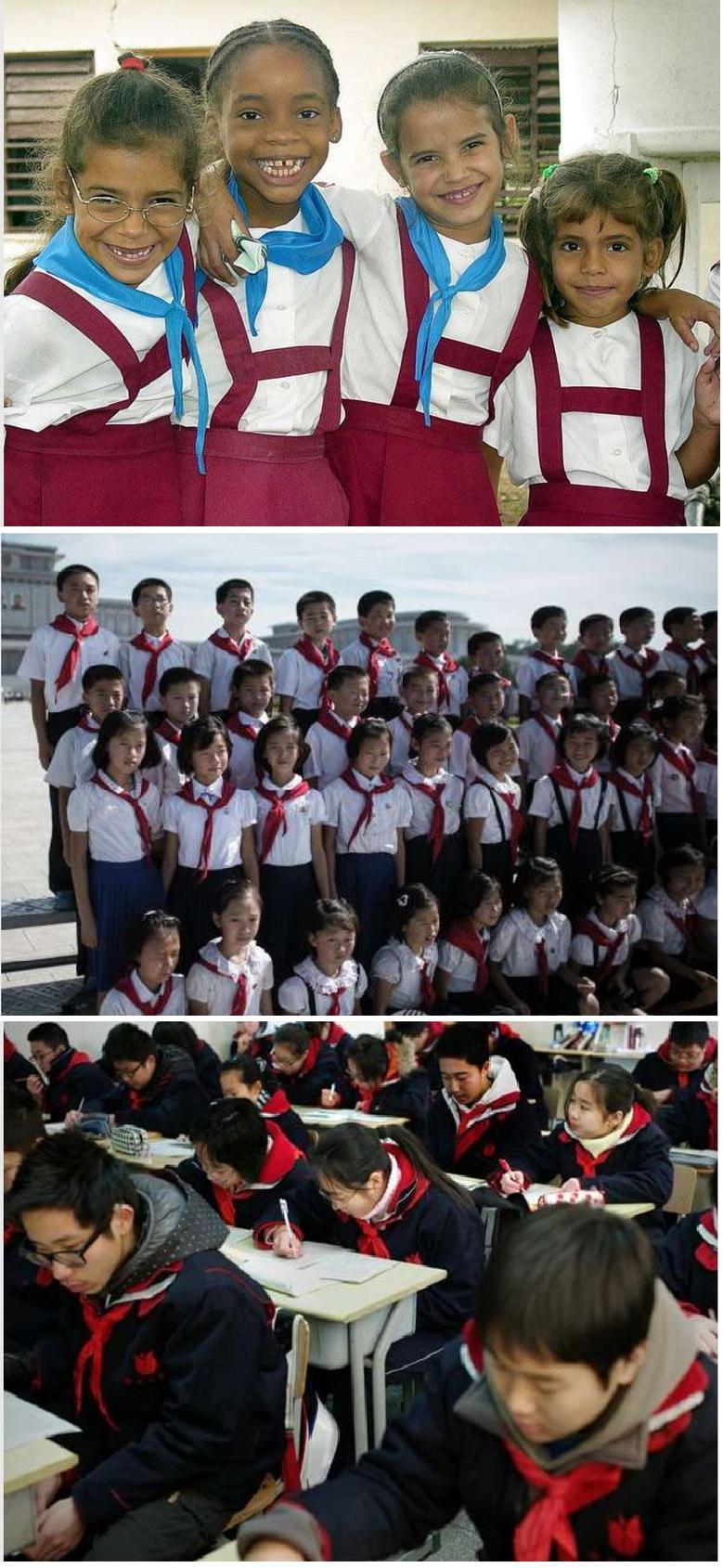 На Кубі, в КНДР та Китаї шкільна форма обов'язкова