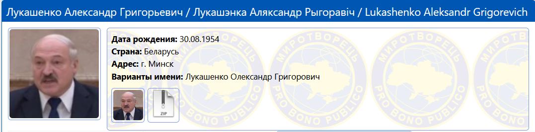 Лукашенко внесли в базу