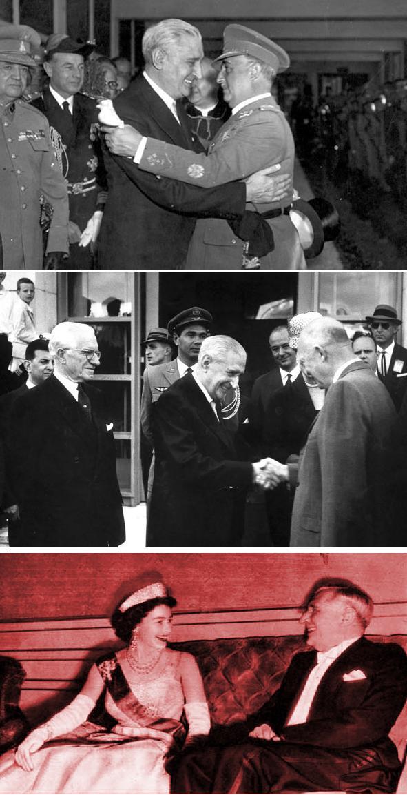 Салазар з каудільйо Іспанії Франко, президентом США Ейзенхауером та королевою Британії Єлизаветою
