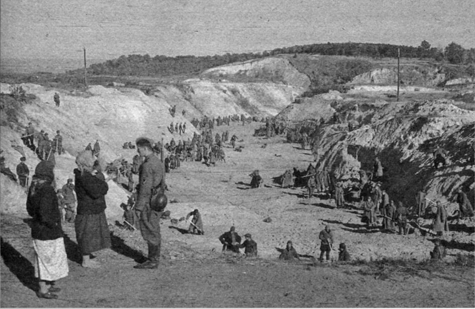 Радянські військовополонені закопують розстріляних у Бабиному Яру, вересень 1941 р. Знімки німецького військового фотографа Йоганнеса Хьоле, який служив у роті пропаганди 6-ї армії, ввіійшли до матеріалів Нюрнберзького трибуналу