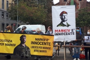Rally in support of Markiv held near Court of Appeal in Milan