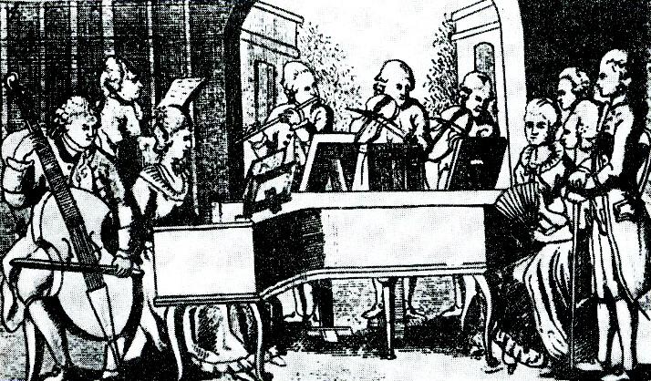 оркестр, гравюра XVIII століття
