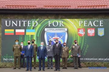 Ministros de Defensa de Ucrania, Polonia y Lituania celebran el 5º aniversario del establecimiento de LitPolUkrBrig