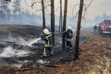 Les pompiers continuent à lutter contre l'incendie dans la région de Louhansk