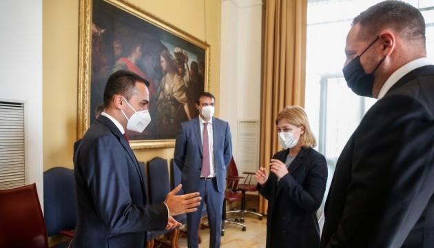Jermak i Stefaniszyna we Włoszech omówili z ministrem spraw zagranicznych sytuację w Donbasie