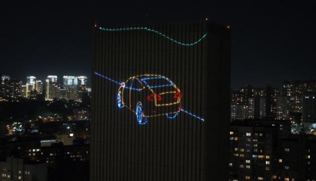 У Києві показали лазерну проєкцію соціального ролика про безпеку на дорозі