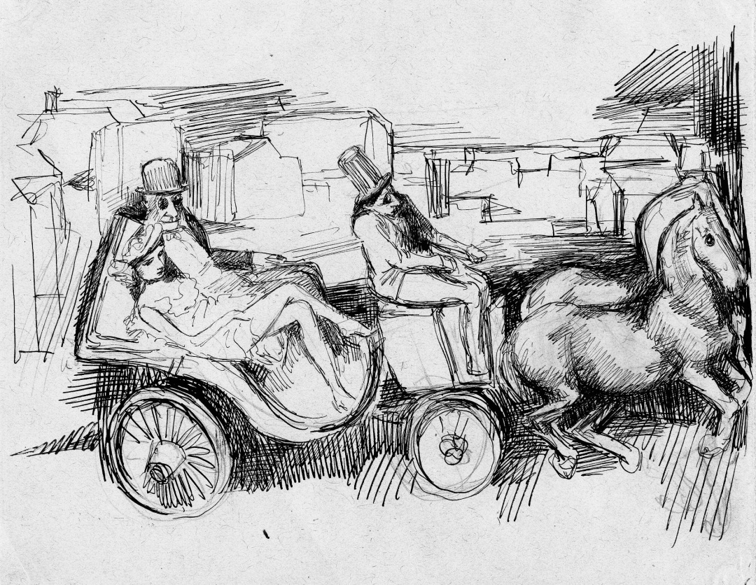 Бьянка і її батько в колясці