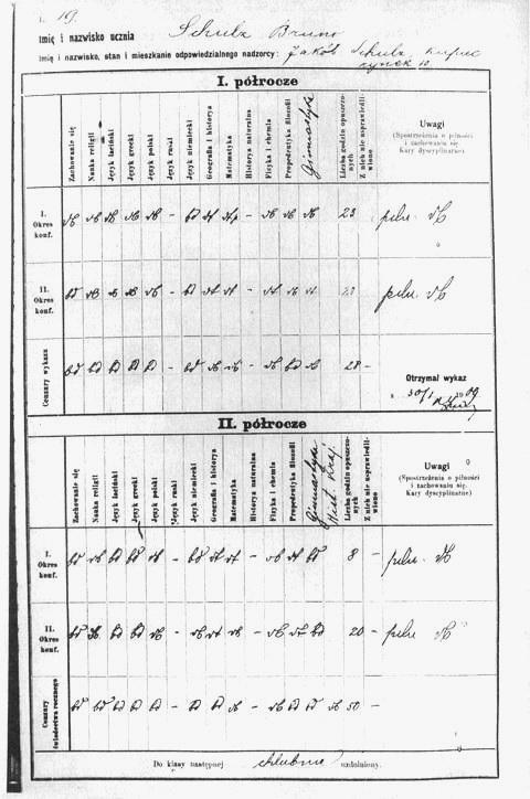 метрикул із оцінками шестикласника Бруно Шульца у 1908-1909 навчальному році