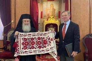 El Embajador de Ucrania trata el desarrollo de la Iglesia Ortodoxa de Ucrania con el Patriarca de Jerusalén