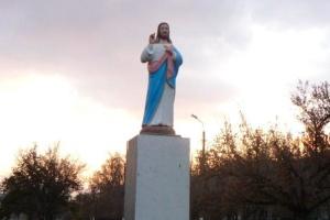 На Запорожье вместо Ленина установили скульптуру Иисуса Христа