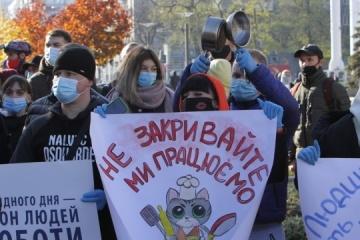 Les Ukrainiens manifestent contre de nouvelles restrictions anti-coronavirus