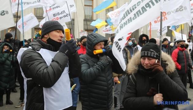 Les contestataires ont bloqué la circulation dans le quartier gouvernemental à Kyiv