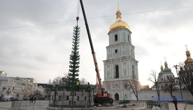 В Киеве начали устанавливать главную елку
