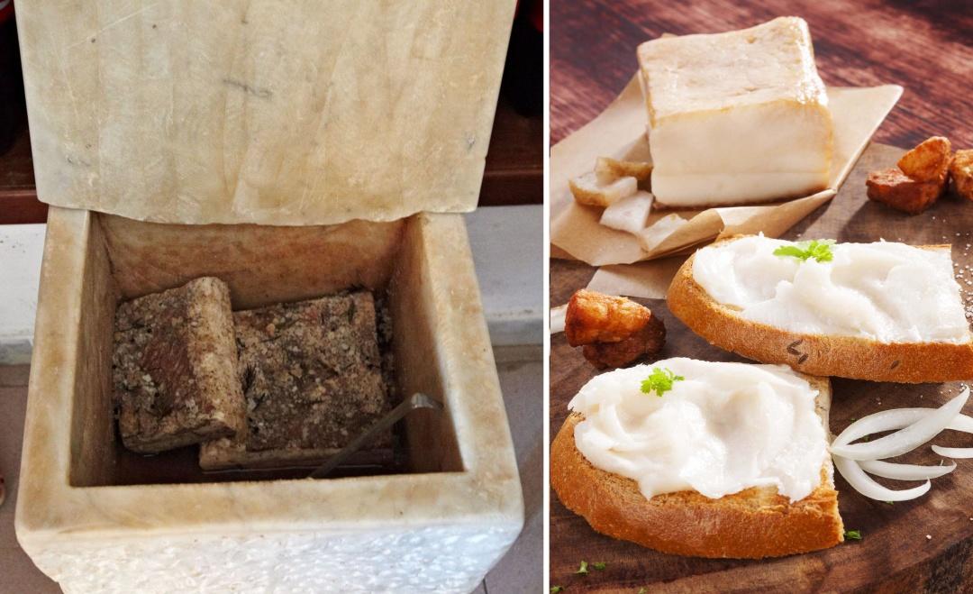 Італійське сало засолюють сало у спеціальних ємностях із каррарського мармуру