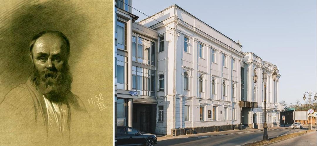 Автопортрет и дом на Верхней Набережной, где жил Шевченко в 1857-1858 годах (видно мемориальная доска)