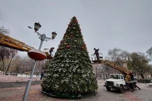 В Запорожье украшают главную елку
