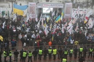 Протестующие перекрыли дорогу возле Верховной Рады