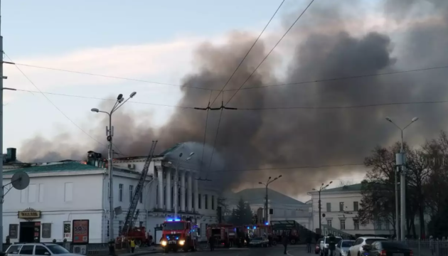 У центрі Полтави обмежили рух через пожежу