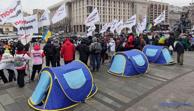 Protestaktion: Etwa 500 Kleinunternehmer bleiben auf dem Maidan