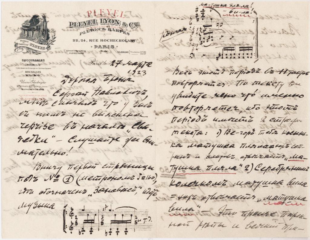 Лист Ігоря Стравінського до Броніславі Ніжинської про балет