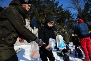 На Хортиці - перші цьогорічні зимові годування птахів