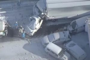 В Японії на швидкісну магістраль обрушився сніговий шторм