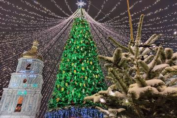 Świąteczny plac Sofijski z lotu ptaka
