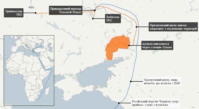 "Маршрут  завоза угля из ОРДЛО (""Украинская Правда"")"