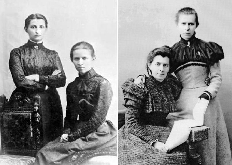 Леся Українка з Ольгою Кобилянською та матір'ю Оленою Пчілкою