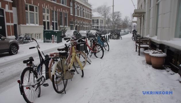 В Нидерландах в результате снегопада отменены десятки авиарейсов, остановились поезда