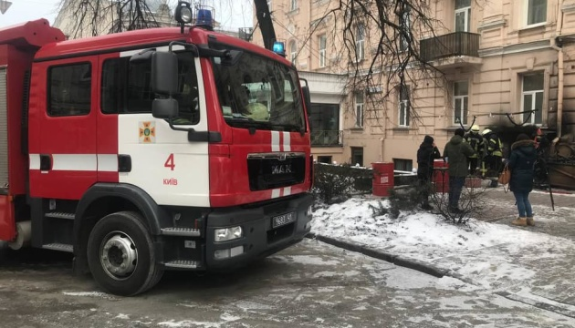 В Киеве горело кафе в жилом доме