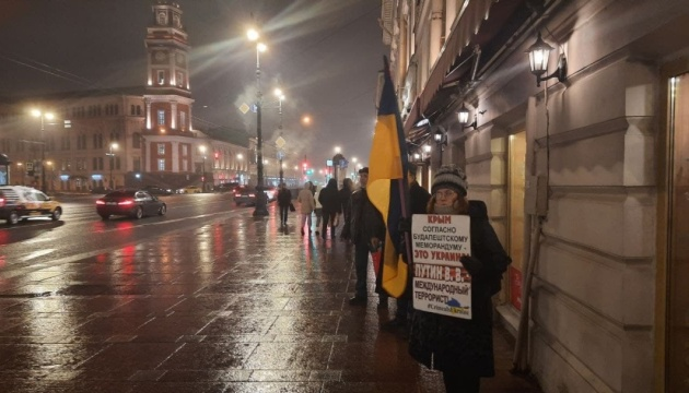 В Петербурге провели одиночные пикеты в честь Дня сопротивления оккупации Крыма