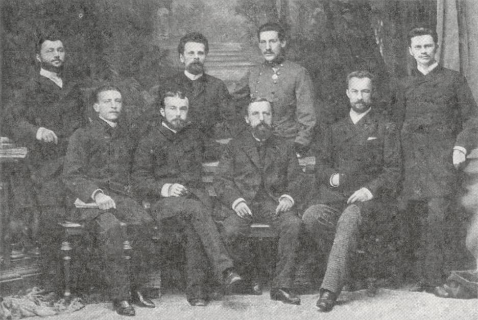 Ян Мікуліч-Радецький та його асистенти, Краків, близько 1887 року