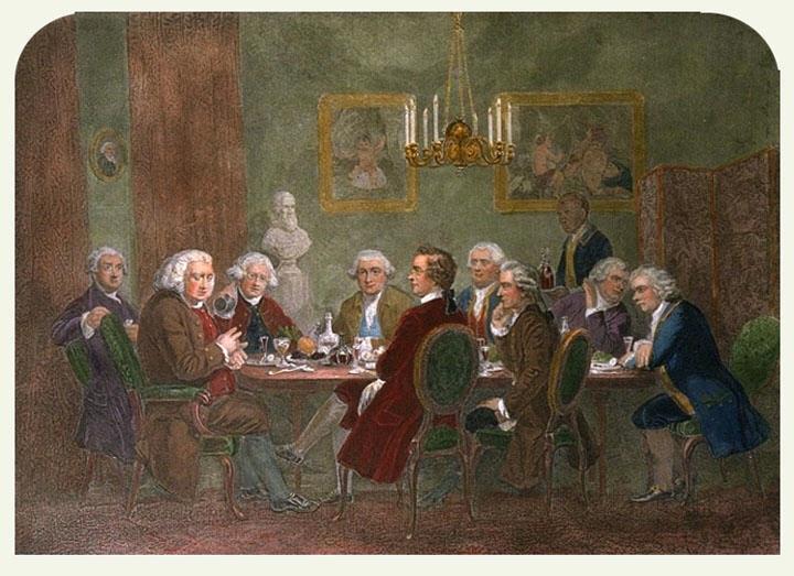 Картина Г.Дж.Томпсона «Вечір у сера Джошуа Рейнольдса». Саме там доктором Самуелем Джонсоном був виголошений відомий афоризм:  «Патріотизм – останній притулок негідника»