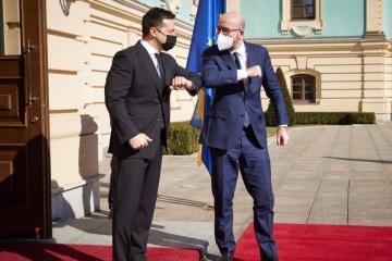 Zelensky, Michel start negotiations at Mariinsky Palace