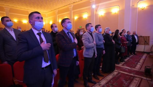 На представлення голови Дрогобицької РДА запросили священників та ансамбль пісні й танцю