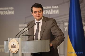 Parlamentspräsident Rasumkow besucht vom 28. bis 30. Juli Regionen Mykolajiw und Odessa