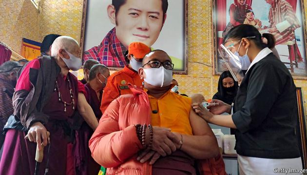 У Бутані за тиждень вакцинували від коронавірусу майже все доросле населення