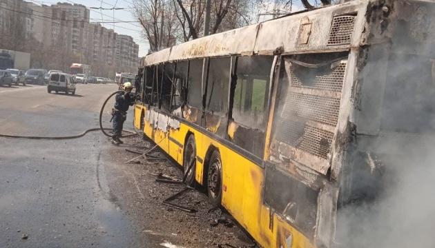 У Києві під час руху зайнявся автобус з пасажирами
