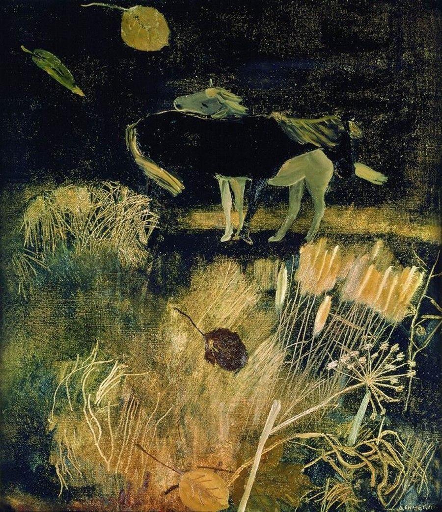 Нічний пейзаж з кіньми і сухими травами