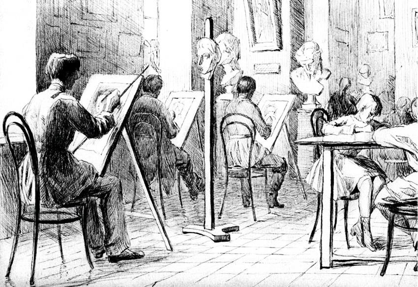 Микола Пимоненко, куточок нашої рисувальної школи, 1885 р.