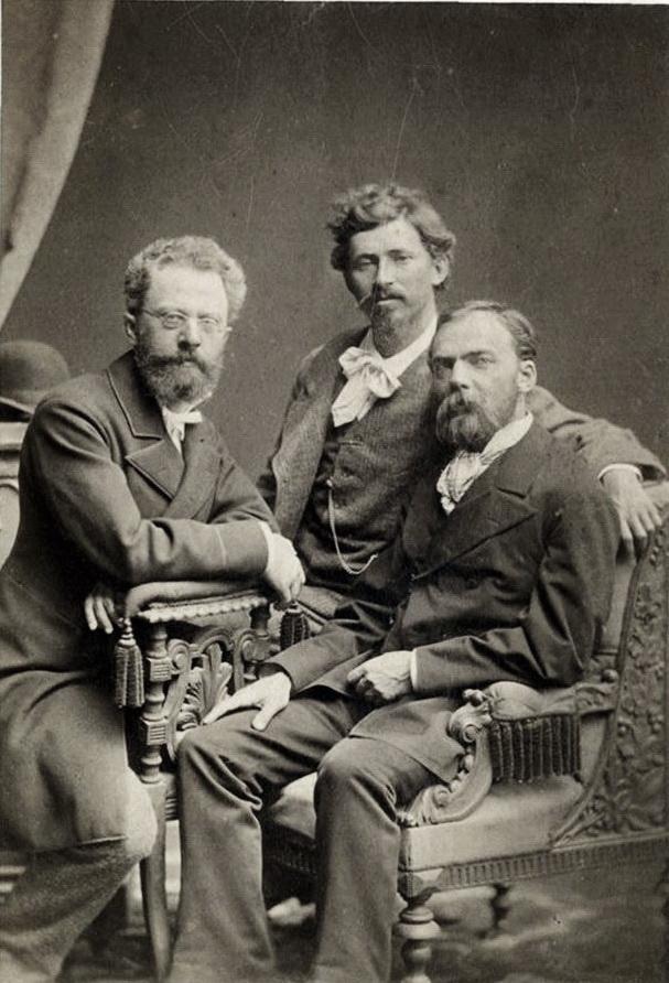 Адріан Прахов - лівору, Ілля Рєпін, Микола Мурашко - праворуч, 1880 р.