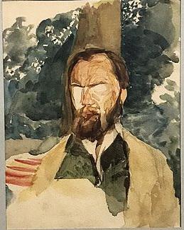 Михайло Врубель, портрет Миколи Мурашка, акварель, 1884-1885 рр.