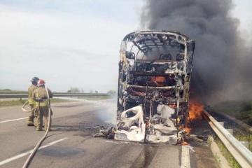 In der Region Odessa ein Bus niedergebrannt