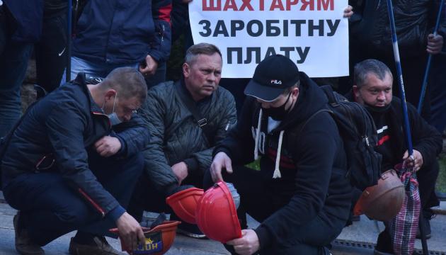 Bergarbeiter protestieren vor Präsidialbüro